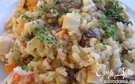 Рецепт Салат с крабовыми палочками и грибами