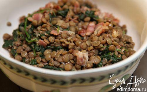 Рецепт Чечевица с беконом и шпинатом