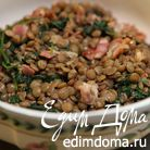 Чечевица с беконом и шпинатом