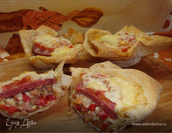 Маффины-пиццы из лаваша