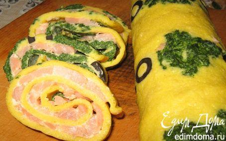 Рецепт Закусочный яичный рулет с семгой