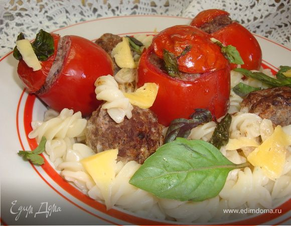 Паста с фаршированными томатами