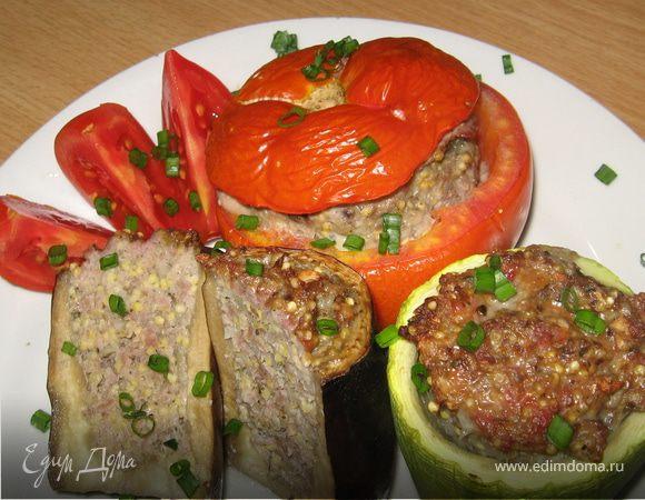 Фаршированные овощи с пшеном