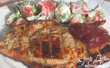 Рецепт Маринованная в катыке свиная корейка с соусом из слив