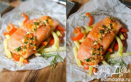 Рецепт Томленый лосось на подушке из овощей с соусом из апельсина и паприки