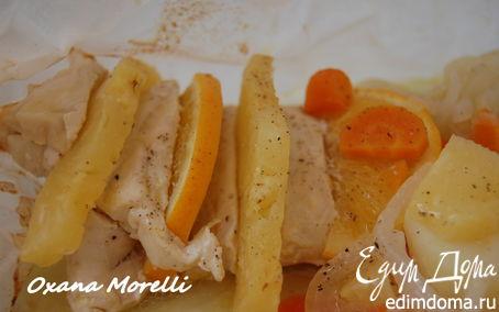 Рецепт Куриные грудки с ананасом и апельсином в кулечках