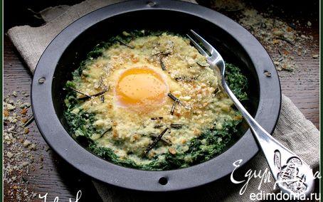 Рецепт Яичница со шпинатом и розмариновыми сухариками
