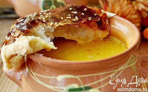 """Рецепт Тыквенный суп в горшочках с креветками под слоеными """"крышечками"""""""