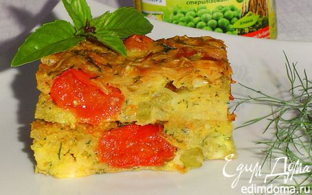 Рецепт Запеканка с капустой, сыром и зеленым горошком