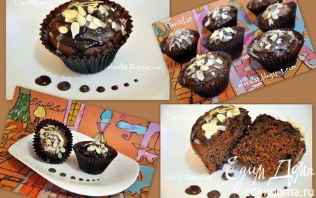 Рецепт Самые шоколадные маффины с глазурью два шоколада