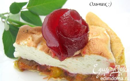 """Рецепт Сливовый пирог с меренгой и розой из сливового желе. Готовим с """"HomeQueen Corporation"""""""