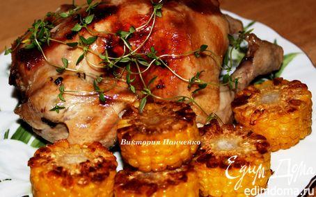 Рецепт Цыпленок в лимонно-чесночном маринаде с тимьяном + бонус хрустящий овощной салат на гарнир