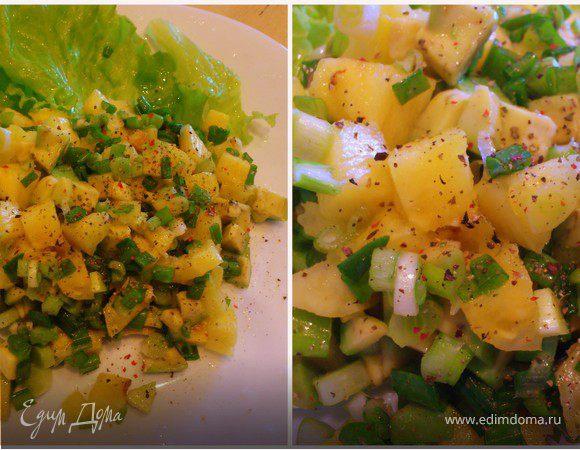 Салат с ананасом и авокадо