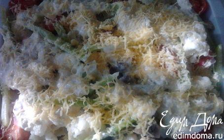 Рецепт Цветная капуста с шампиньонами в сливочно-сырном соусе