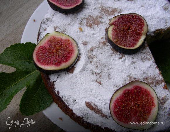 Пирог на оливковом масле с лимоном и инжиром или другими фруктами