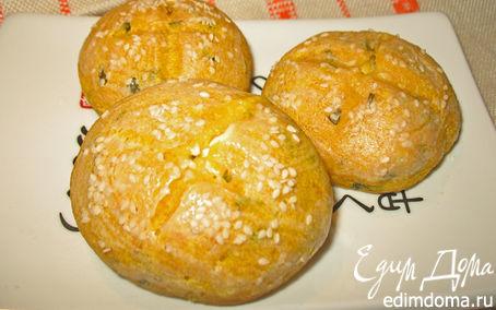 Рецепт Тыквенные булочки с творожным сыром и зеленью