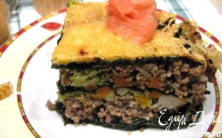 Рецепт Мясной пирог без теста с овощной начинкой