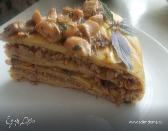 блинный торт с мясом и грибами