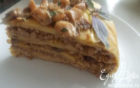 Рецепт блинный торт с мясом и грибами