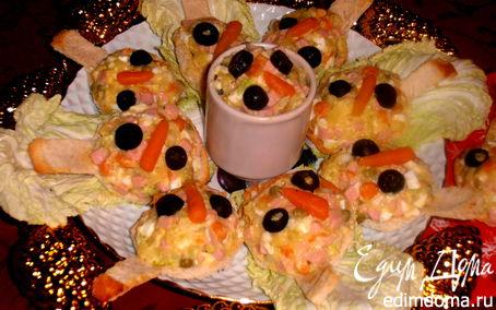 Рецепт Хлебные ложки, они же - тарталетки с салатом