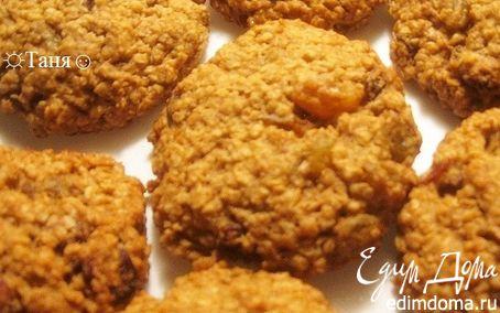 Рецепт Печенье oвсяное с изюмом и орехами