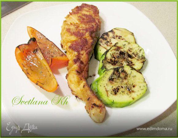 Семга в имбирном маринаде и овощи-гриль на плите