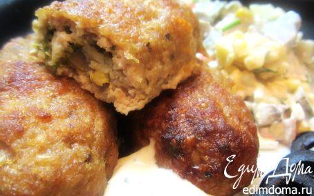 Рецепт Сливочные котлеты, фаршированные грибами, сыром, яйцом и зеленью