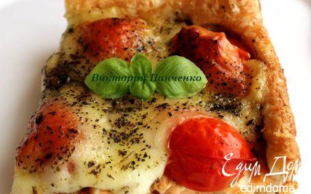 Рецепт Тарт с семгой, помидорами черри и моцареллой