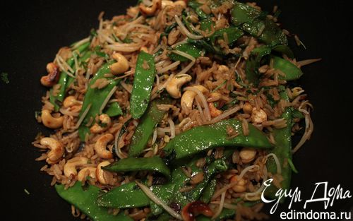 Рецепт Острый рис с кешью, шпинатом и зеленым горошком