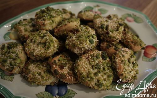 Рецепт Печенье с курагой, кунжутом и фисташками