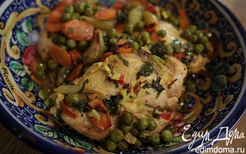 Рецепт Цыпленок с зеленым горошком, морковью и шафраном