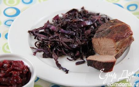 Рецепт Красная капуста, томленная с красным вином и пряностями + свекольное чатни (гарнир к мясу или птице)
