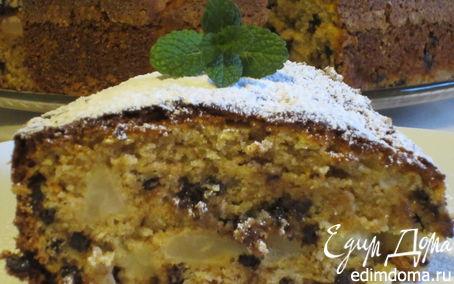Рецепт Пирог из цельнозерновой муки с грушами, шоколадом и грецкими орехами