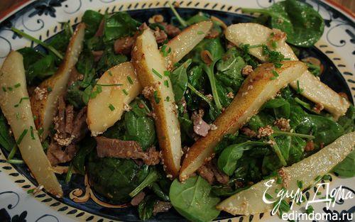 Рецепт Японский салат с языком и карамелизированной грушей