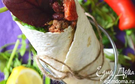 Рецепт Буритто с чили из красной фасоли с говядиной, рисом и зеленым салатом
