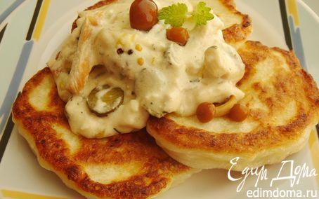Рецепт Картофельные оладьи с куриными шницелями в сливочном соусе