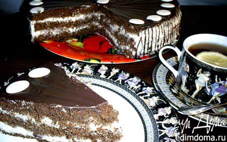 Рецепт Шоколадно-кофейный торт со сливочным кремом панна котта
