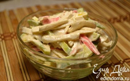 Рецепт Салат с авокадо и крабовыми палочками с острым спайси соусом