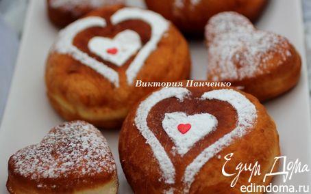 Рецепт Пончики с шоколадом для всех влюбленных