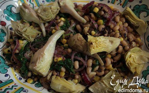 Рецепт Теплый салат с артишоками, фасолью и шпинатом