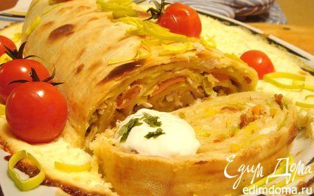 Рецепт Паста-рулет с курицей и беконом для защитников Отечества