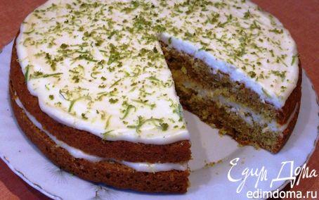 Рецепт Бисквит с лаймом, миндалем и лимонным кремом