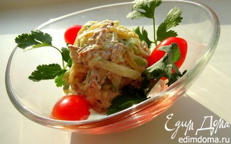 Рецепт Салат из зеленой редьки с мясом