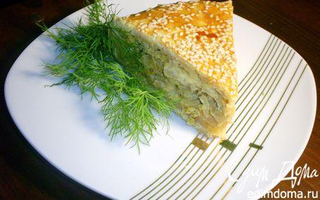 Рецепт Сырно-луковый пирог с брокколи и цветной капустой