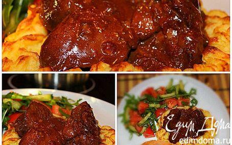 Рецепт Печень индейки в сливочно-медовом соусе в корзинке из пюре