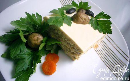 Рецепт Пикантный мясной торт с грибным кремом и сырно-сливочной заливкой