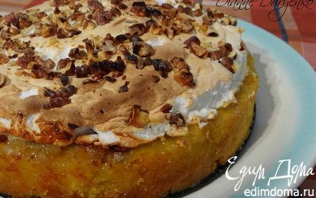 """Рецепт Лимонное пирожное """"Софи Лорен"""" с грецкими орехами, изюмом и безе"""