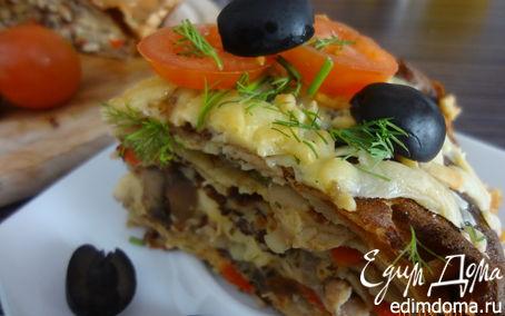 Рецепт Блинчатый пирог с курицей и грибами