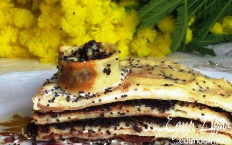 Рецепт Блинный торт с творожно-маковой начинкой