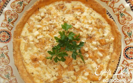 Рецепт Киш с семгой и плавленым сыром